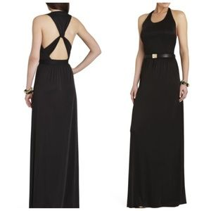 BCBGMaxazria NEW Black maxi twist back. Modal. M